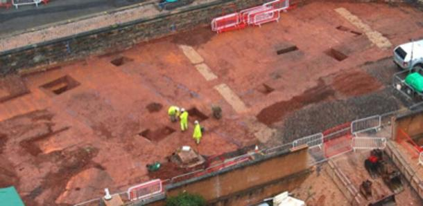 The area of construction where the Roman fort was found. (Exeter City Council)