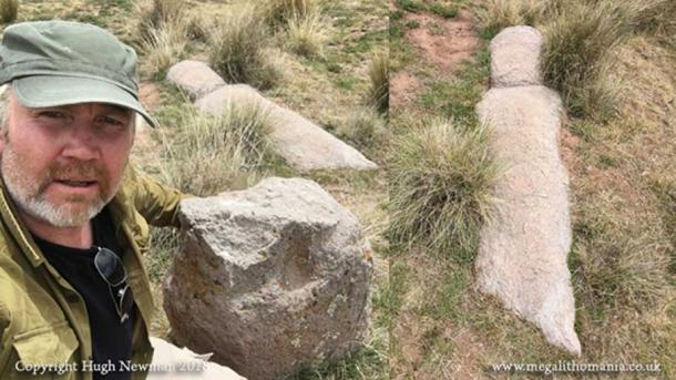 The author at the newly discovered Viracocha statue. (Author Provided)
