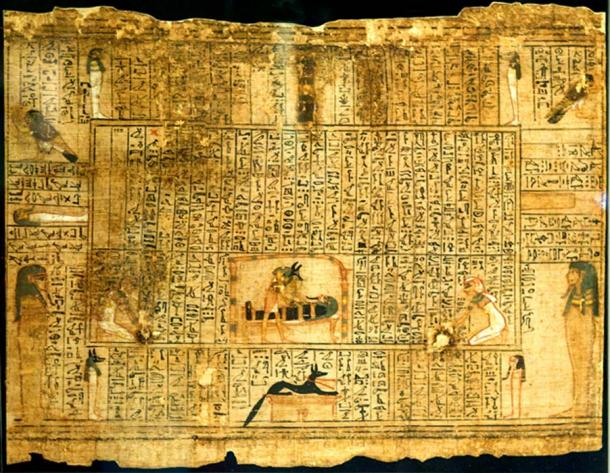 """The beautifully illustrated Book of the Dead of Qenna, who, uniquely included a passage that describes a deceased person's activity in an afterlife location called the """"house of hearts."""" In the typical presentation, Spell 151 centers on care of the mummy by Anubis and other gods. Rijksmuseum van Oudheden, Leiden. (Photo: Rob Koopman/CC BY SA 2.0)"""