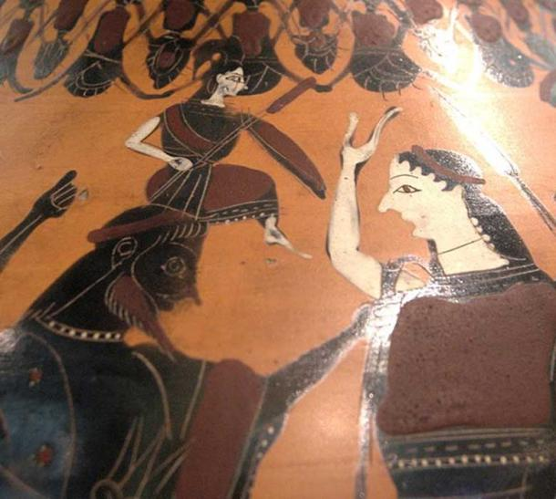 The birth of Athena depicted on an amphora from 550-525 BC.
