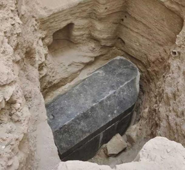 The black sarcophagus may be the largest ever found in Alexandria . ( Ministry of Antiquities )