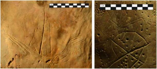 Left: The boat engraving near the back of the cave. Right: the starburst, cupules, and quadrupeds. (S. Murray)