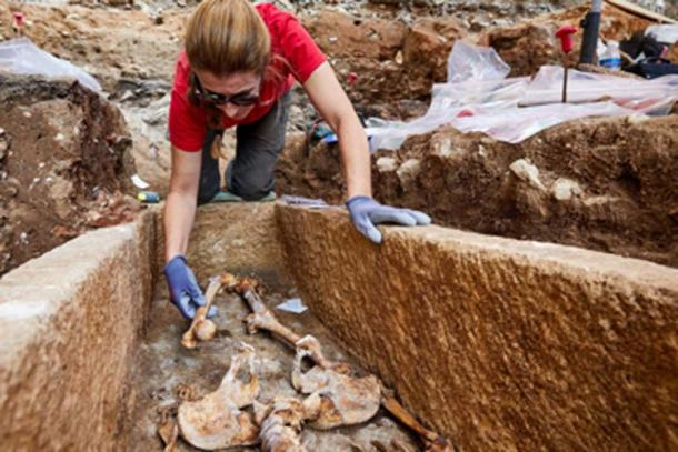 The bones in the sarcophagus were the remains of an elderly female. (Département du Lot / Facebook)