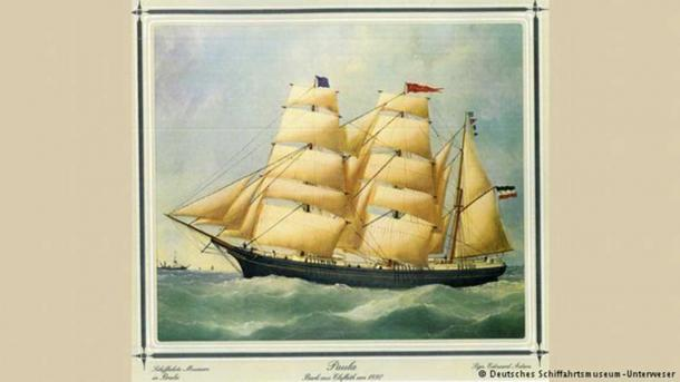 The bottle was thrown overboard from the German merchant sailing barque Paula, depicted here in 1880.