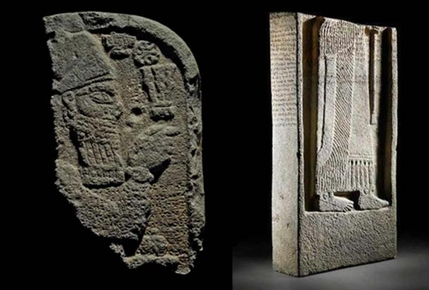 The broken top (CC BY NC SA 4.0 ) and bottom sections ( CC BY ND ) of the Assyrian stele.