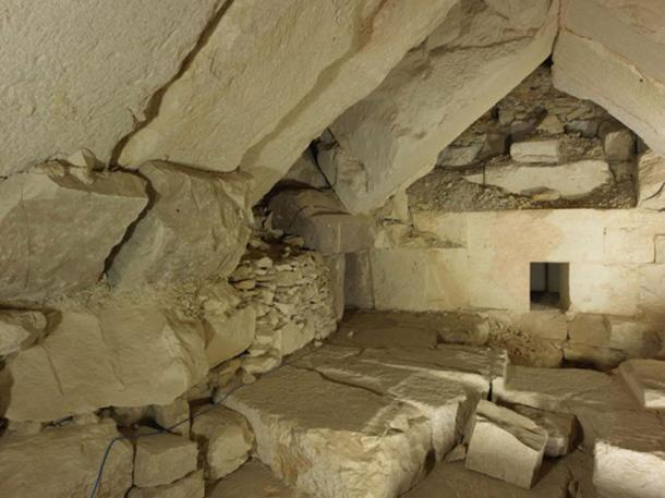 The burial apartments of king Djedkare's pyramid before their consolidation. (Sandro Vannini)