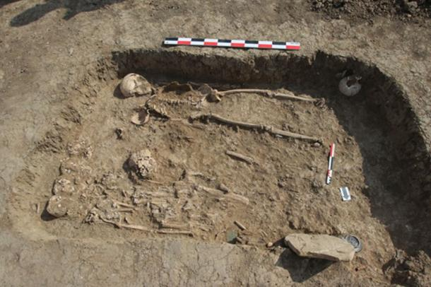 The burial in which the remains of the harp were found. Necropolis of the settlement 'Volna-1'. (Image: Institute of Archaeology, RAS)
