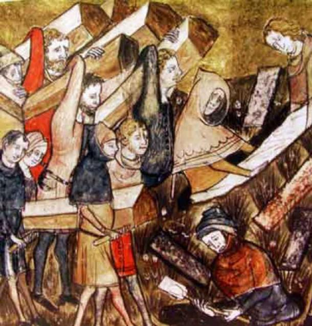"The burial of the victims of the plague in Tournai. Detail of a miniature from ""The Chronicles of Gilles Li Muisis"" (1272-1352), abbot of the monastery of St. Martin of the Righteous. Bibliothèque royale de Belgique, MS 13076-77, f. 24v. (Public Domain)"