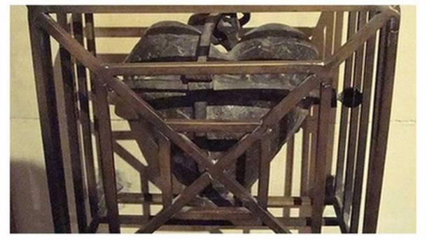 The cage and heart of St Laurence before the robbery. (Garda Release)