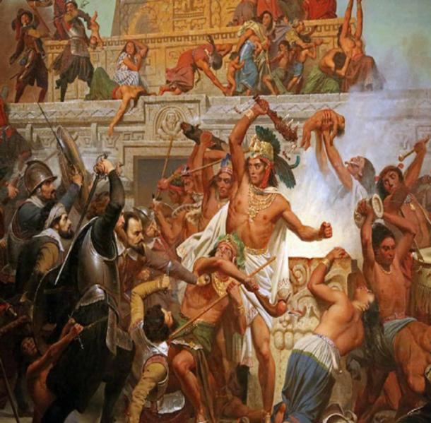 The capture of Moctezuma. Copper-plate engraving from Van Beecq (public domain)