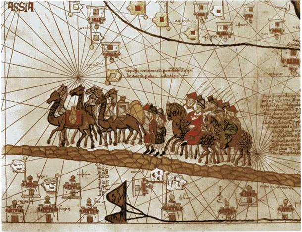 The caravan of Marco Polo traveling towards the Indies. Illustration c. 1375 (Public Domain)