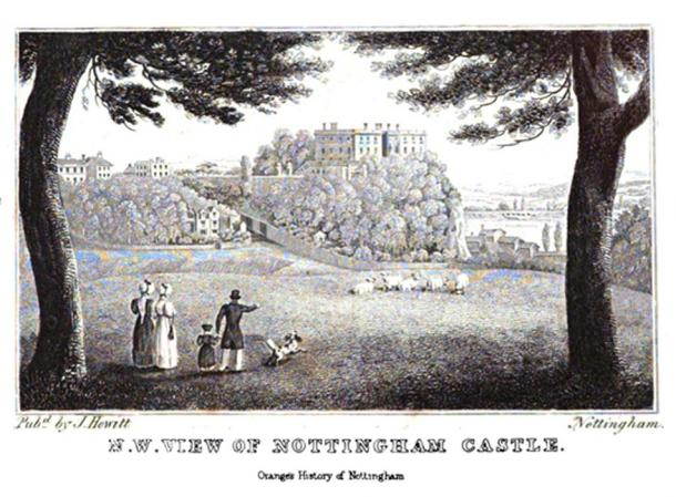 The castle from The History and Antiquities of Nottingham by James Orange, 1840.