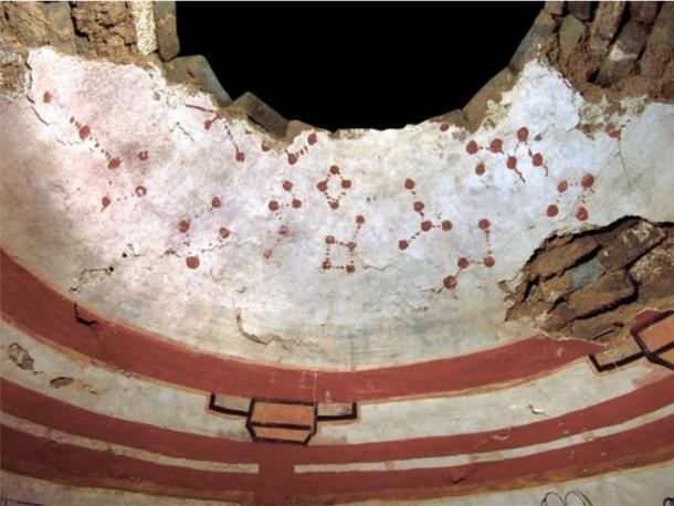 The ceiling of the tomb depicts stars and constellations painted in red