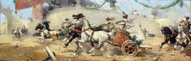 The chariot race in the Circus Maximus by Alfredo Tominz, 1890. (Public Domain)