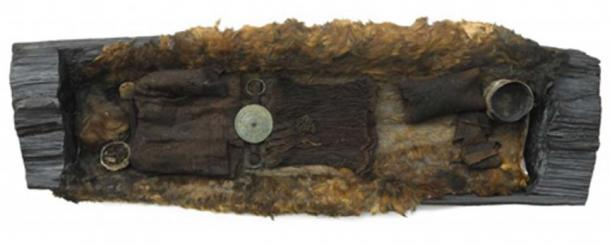 The coffin and remains of the Egtved Girl, in Denmark. Researchers have discovered the high-status teen was born and raised afar from her burial site. (Credit: Karin Margarita Frei, National Museum of Denmark)