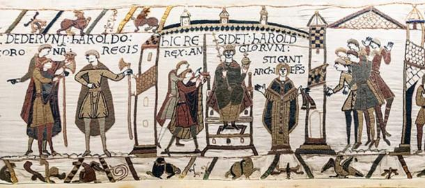 The coronation of Harold Godwinson on the Bayeux Tapestry. (Myrabella / Public Domain)