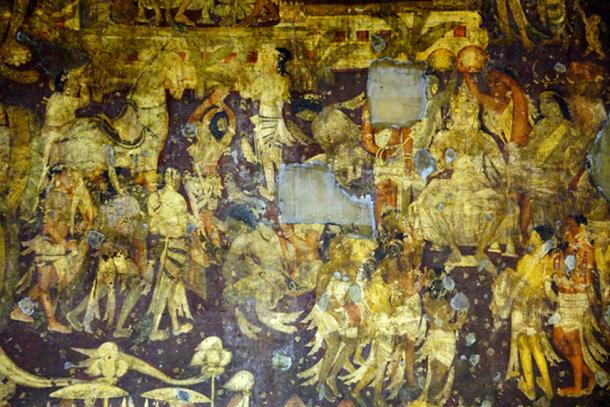 The coronation of Prince Vijaya - detail from the Ajanta Mural Of Cave No 17. (पाटलिपुत्र / CC BY-SA 2.0)