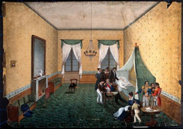 The death of Napoleon is speculated to have been caused by arsenic from the green pigment in the wallpaper and paint in his room. (Fæ / Public Domain)