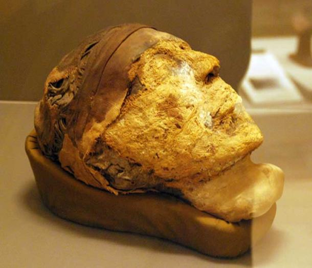 The decapitated, mummified head found in Tomb 10A (CC by SA 3.0)