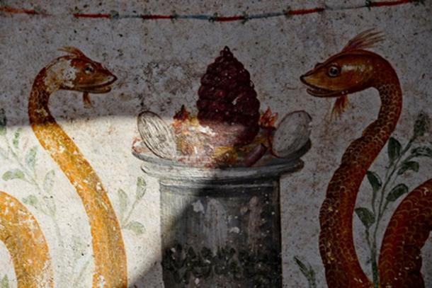 The decorations included serpents and eggs, a symbol for fertility. (Pompeii Parco Archeologico)