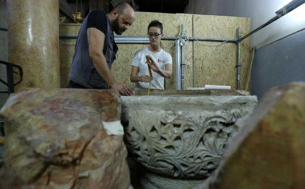 The discovered baptismal font was inside a larger font. (Science News / YouTube Screenshot)