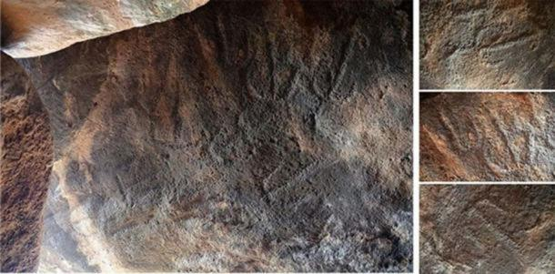 The engravings that were exposed on the inside of the built chamber. (Credit: Gonen Sharon, Tel Hai College)