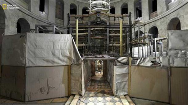 The entrance of the tomb during the renovations.