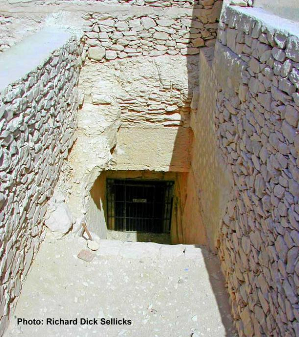 The entrance to the enigmatic single-chambered, undecorated Tomb 55 that seems to have contained the reburials of Queen Tiye, and possibly, her son Akhenaten too.