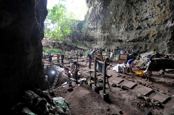 The excavation site at Callao Cave. (Image: © Callao Cave Archaeology Project)