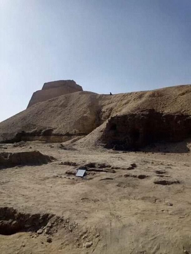 The excavation site near the Meidum pyramid. (Ministry of Antiquities)