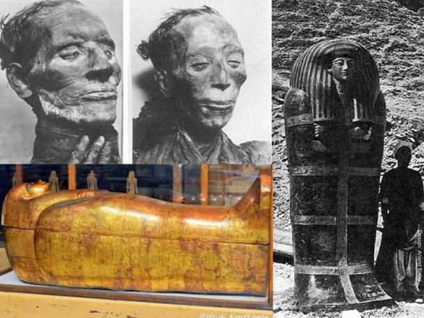 (Clockwise) The excellent state of preservation of the mummies of Yuya and Tjuyu bear testimony to the skill of 18th-Dynasty embalmers; an excavation assistant stands beside the 2.75 meter outermost coffin of Yuya shortly after its discovery (Public Domain); this, the most perfectly preserved and beautiful of the series of seven anthropoid coffins of Tuya, is, except for the eyes and the necklace, entirely covered in gold. Egyptian Museum, Cairo. (Photo: Heidi Kontkanen)