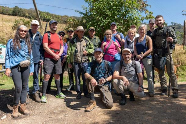 The expedition group including police escorts