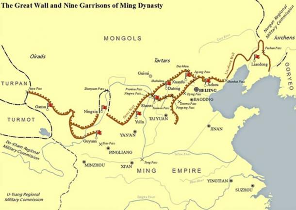 The extent of the Ming dynasty and its walls, which formed most of what is called the Great Wall of China today. (SY / CC BY-SA 4.0)