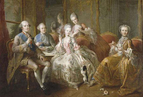 The family of the Duke of Penthièvre called 'La tasse de chocolat'  by Jean-Baptiste Charpentier the Elder  (1768) (Public Domain)