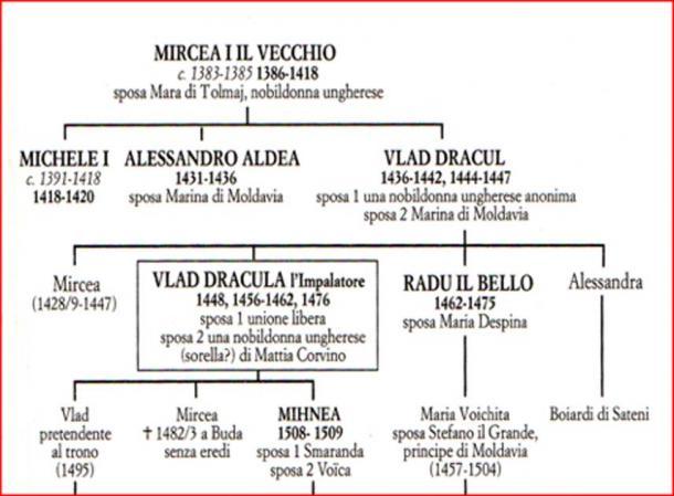 The family tree of Vlad III Tepe, the Impaler (Image: Courtesy Dr Roberto Volterri).