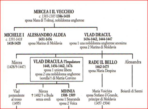 The family tree of Vlad III Tepe, the Impaler (Image: Courtesy Dr Roberto Volterri).