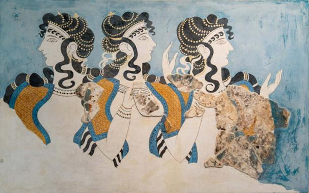 The famous Ladies in Blue fresco that once adorned the walls of Knossos palace. (Ioannis Syrigos)