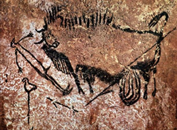 The famous shaft scene of Lascaux depicting a man with a crow's head looking at a bison.