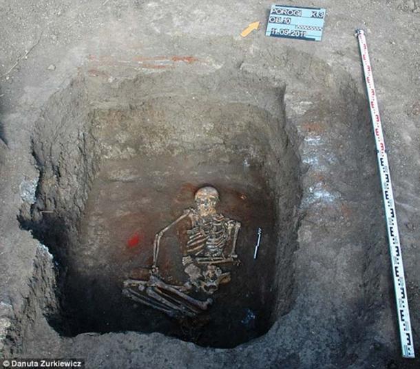The female skeleton was found in Dniester, Ukrain in 2016. (Danuta Żurkiewicz/Adam Mickiewicz University)