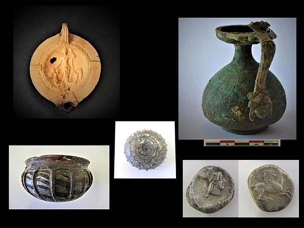 The findings at the site included vases and a series of lamps, notably some included depictions of the Roman goddess Venus and two cupids. (Greek Ministry of Culture)