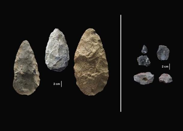 The first evidence of human life in the Olorgesailie Basin comes from about 1.2 million years ago. The sophisticated tools (right) were carefully crafted and more specialized than the large, all-purpose handaxes (left). (Human Origins Program, Smithsonian)