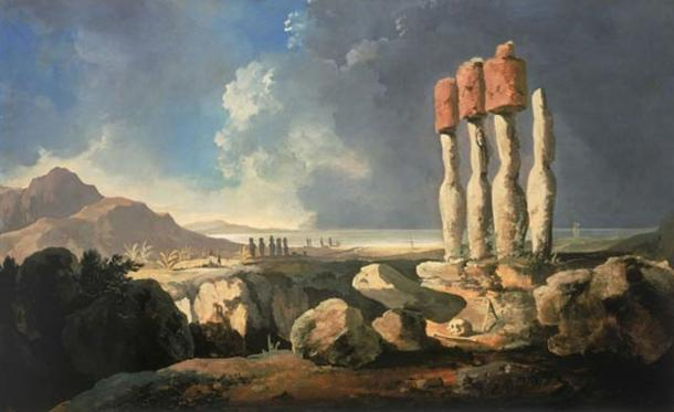 The first known painting of Easter Island in 1775 by William Hodges, showing moai statues with their distinctive red headgear.