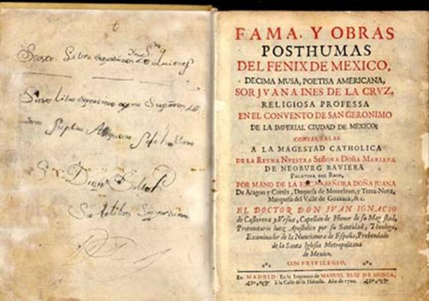 The first part of Juana Ines de la Cruz's complete works, Madrid, 1689. (Donn Q / Public Domain)