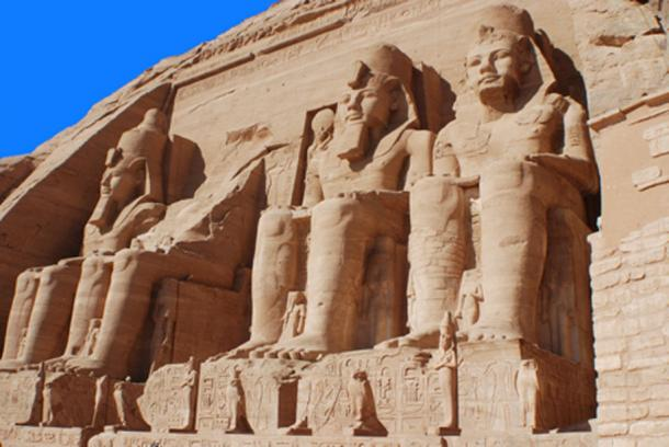 The four Colossus of the Great Temple of Rameses II. (Big Stock Photo)