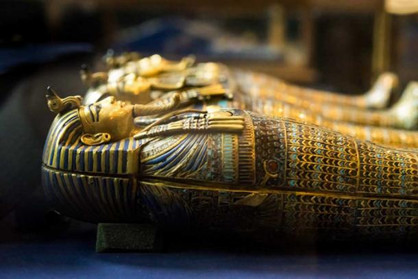 The four ornate gold coffinettes that held the embalmed royal viscera of Pharaoh Tutankhamun. Palimpsest inscriptions present on the insides of these objects reveal the name, Neferneferuaten; making it a clear case of usurpation from a female predecessor. Egyptian Museum, Cairo. (Mark Fischer / flickr)