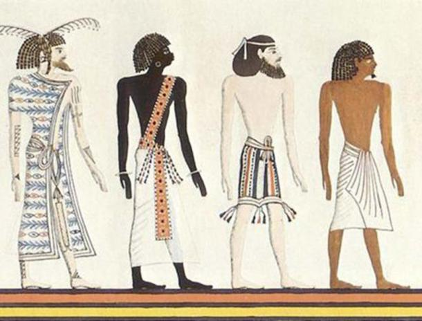 """The four races of the world according to ancient Egypt: a Libyan (""""Themehu""""), a Nubian (""""Nehesu""""), an Asiatic (""""Aamu""""), and an Egyptian (""""Reth""""). An artistic rendering by Heinrich Menu von Minutoli based on a mural from the tomb of Seti I."""