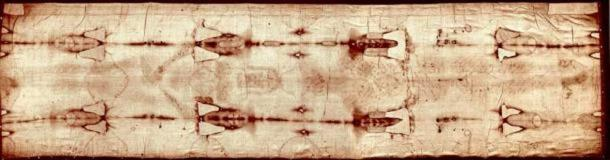 The full length of the Shroud of Turin. Scientists and scholars cannot resolve the mystery of the shroud.