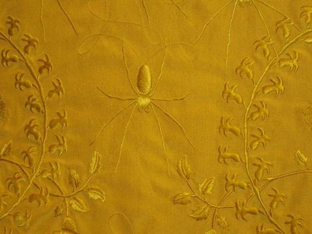 The golden spider-silk cape made by Peers and Godley.