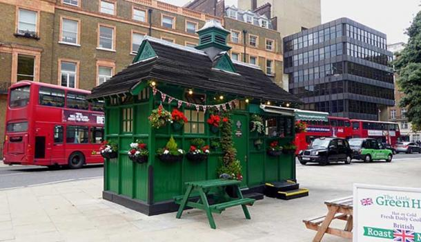 The green shelter belonging to the Cabmen's Shelter Fund in Russel Square, Bloomsbury London Borough of Camden.