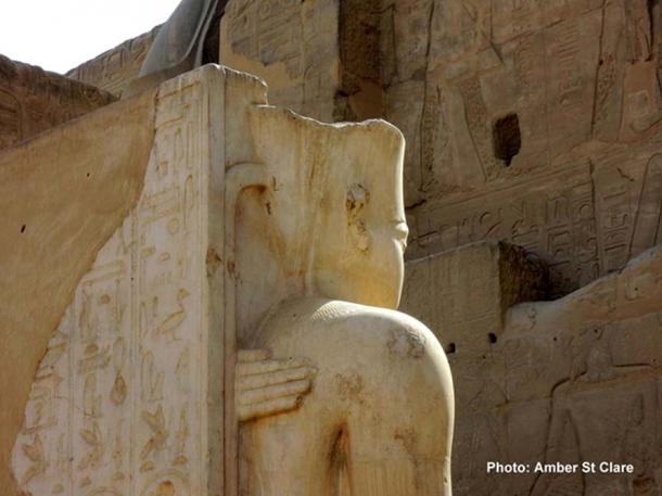 The hand of Ankhesenamun rests protectively upon the back of her husband and half-brother Pharaoh Tutankhamun, in this statue at Karnak Temple. The penultimate ruler of the Eighteenth Dynasty, King Aye, probably married the young queen to legitimize his claim to the throne.
